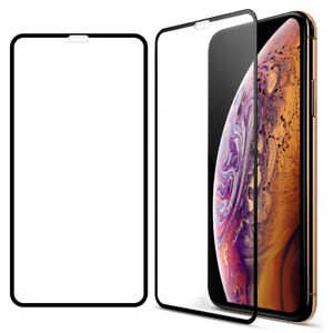 For Apple iPhone XS Max HD Clear Tempered Glass Full Screen Protector-Black
