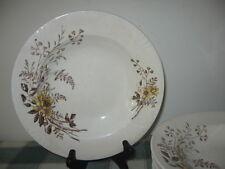 6 Antique Burroughs & Mountford Rim Soup Bowls Brown Yellow Floral B M & Co NJ