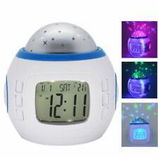 Projection 7 Color Sky Night Light Clock LED Star Projector Kids Alarm Clock