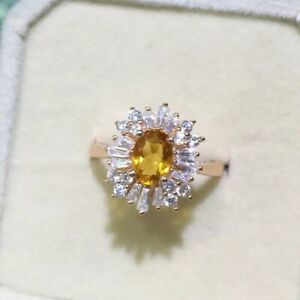 High Quality 100% Natural Citrine Ring Real 925 Solid Sterling Silver, Jewelry