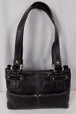 TIGNANELLO Black Leather Tote Satchel Handbag Shoulder Bag
