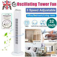 """32""""Home Free Standing 3-Speed Oscillating Tower Cooling Fan 45W Timer 60 Degree"""