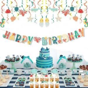 Ocean Animal Theme Party Kids Birthday Banner Cake Topper Hanging Decoration Set