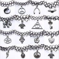 Women Tattoo Choker Stretch Necklace Black Retro Henna Elastic Boho 90s Gothic