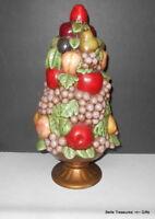 Ceramic Pottery Hand Painted Fruit Bouquet Table Top Decorative Center Piece USA