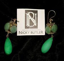 """Nicky Butler Green Stone Dangle Drop Earrings 3"""" long"""