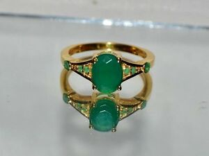 2.65 ct. NATURAL EMERALD  .925 STERLING  SILVER STATEMENT DINNER GYPSY RING  YG