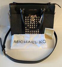 $458 New  MICHAEL KORS NOUVEAU HAMILTON LG SATCHEL LEATHER BLACK Hand Bag