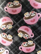 """Hot Chocolate Marshmallows 100% Cotton Fabric FQ 18""""x21"""" Hot Cocoa 💕 On Grey"""