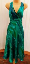 COAST TINKERBELL GREEN BLUE GOLD SILK SHEER BACK 50'S HALTER DRESS 14 ONCE £135