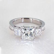 2 Cts VS2 H  Princess 3 Stone Diamond Engagement Ring 18K-Gold