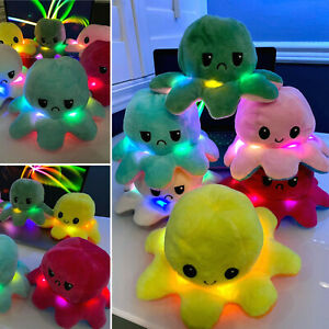 LED Reversible LIGHT Flip Octopus Plush Stuffed Toy Soft Animal Accessories NEW