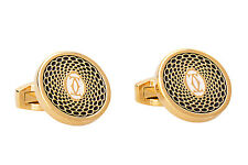 Cartier Cufflinks Gold plated Black Mens Jewelry Round New