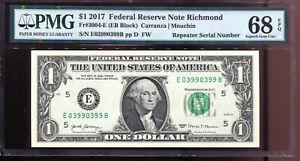 2017 $1 Federal Reserve Note Fancy REPEATER Serial #E03990399B PMG 68EPQ
