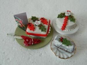 (CF6) 1/12th scale DOLLS HOUSE HANDMADE CHRISTMAS CAKE SET
