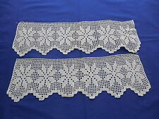 Vintage Ecru Hand Crocheted Trim Snowflake Pattern 2 Pieces