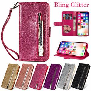 Bling Glitter Slim Wallet Phone Case Flip Stand Card Holder Zipper Leather Cover