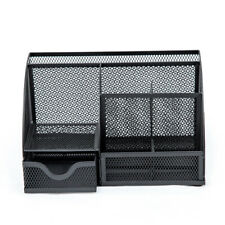 Office/Home/School Wire Mesh Desk Organizer 6 Compartment with Drawer, Black