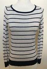 MARCS Beige Navy Striped Boat Neck Cotton Silk Cashmere Long Sleeve Jumper XS