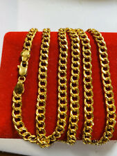 """22K 916 Fine Saudi Gold Mens Curb Necklace With 24"""" Long chain 5mm USA Seller"""
