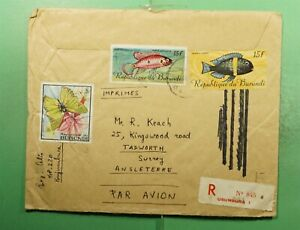 DR WHO BURUNDI USUMBURA REGISTERED AIRMAIL TO ENGLAND BUTTERFLY  g20170