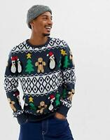 Mens Christmas Gingerbread Tree Penguin Novelty Xmas Jumper Size Small to XL