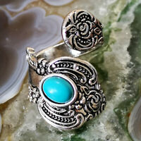 Fashion Tibetan Silver Turquoise Open Ring Adjustable Unisex Ring Jewelry Gift