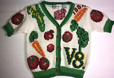 The Eagle's Eye Sweater Hand Knit V8 Vegatables M 5-6 Strawberry Buttons Carrots