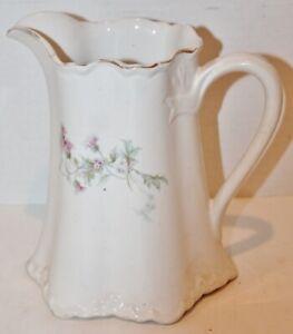 "Antique Edwin M Knowles Vitreous Pitcher - Floral -7.5"" Tall - EUC"