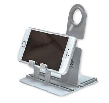 Universal Stand Holder Mobile Phone Pad Adjustable Fold-abl Silver Aluminium NEW