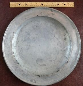 "LARGE ANTIQUE SAMUEL ELLIS PEWTER 13 1/2 "" CHARGER DISH PLATE, CIRCA 1721 -1765"