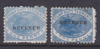 "TASMANIA 1882 1D BLUE PLATYPUS STAMP DUTY ""REVENUE"" MINT X2 SG F36 (HM163.7)"