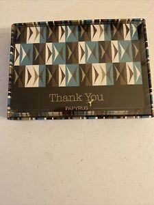 Papyrus Thank You Boxed Blank Note Cards with Lined Envelopes, 12-Count NEW