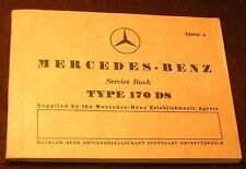 MERCEDES TYPE 170 DS 170DS W191 MAINTENANCE SERVICE TICKETS Ed. A OWNERS MANUAL