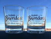 Set of 2 Saint Brendan's Irish Cream Liqueur Rocks Glass, St. Brendan, EUC