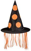 Halloween Helloween Hexenhut Zauberer-Hut mit orangem Kunsthaar ⌀ ca. 34 cm Deko