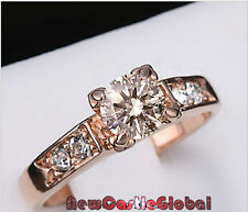 Austrian crystal Gold Plated Solitaire fake engagement wedding Rhinestones Ring