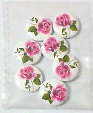 SET 7 BOTTONI fantasy 15mm 2 fori in legno fiori ricamo cucito sartoria ago filo