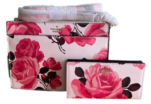 Kate Spade Cameron Street Roses Clarise Pink Crossbody Bag & Wallet Set +Dustbag