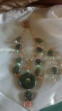 Green Jasper stone pendant necklace and earrings set