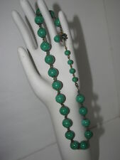 Vintage MIRIAM HASKELL Green Malachite Glass Beads Choker Necklace Clasp Signed