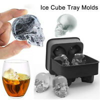 Skull Shape 3D Ice Cube Mold Maker Bar Party Silicone Trays Chocolate Mould New