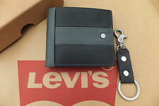 LEVI'S Leather Wallet & Key Ring Set Bi-Fold 2in1 Wallet Gift Box BNWT RRP£49