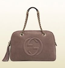 Gucci Women's Soho Nubuck Leather Chain Shoulder Bag, Grey Field, MSRP $2,200