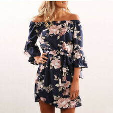 Womens Lace Evening Cocktail Formal Dresses Off the Shoulder 3/4 Sleeve Dress