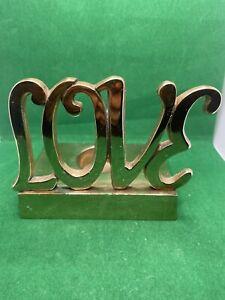 """Brass Candleholder Sign """"LOVE"""""""