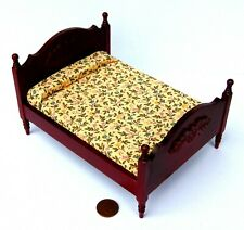 1:12 Scale Mahogany Colour Double Bed Tumdee Doll House Miniature Bedroom DF253M