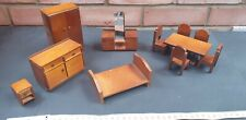 Vintage Lot of Wooden Doll's House Furniture, Wardrobe, Bed, Table & Chairs etc