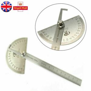 Stainless Steel Angle Ruler 180° Protractor Round Finder Arm Measuring Tool NEW