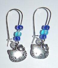 Hello Kitty Ohrringe Ohrhänger mädchen wie neu blau silber katze kinder damen